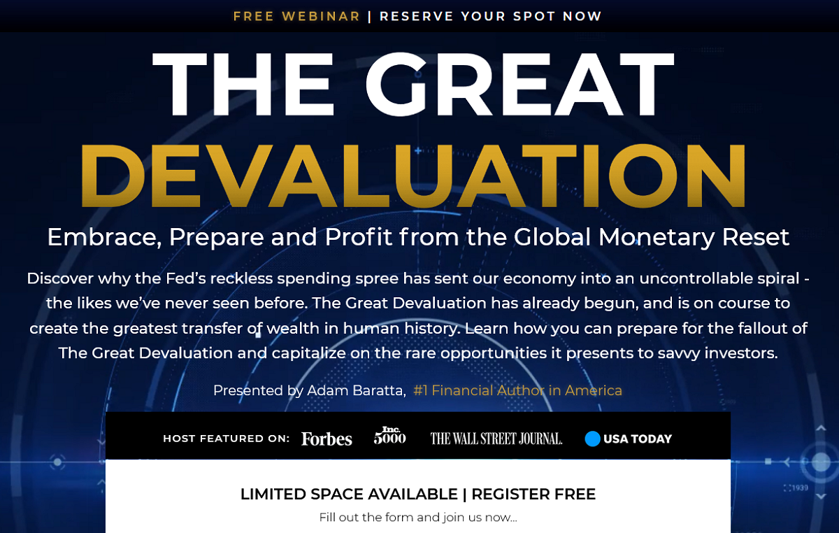 The Great Devaluation Free Event — Best-selling Financial Author in USA Makes New Shocking Prediction
